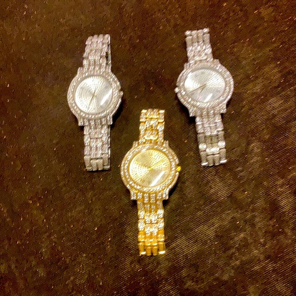 1 Gold and 2 Silver studded Roman numeral watches: